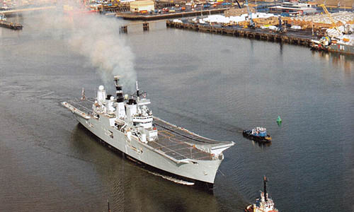 HMS Ark Royal sailing from Rosyth
